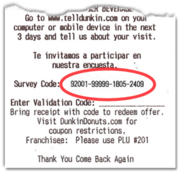 telldunkin survey code