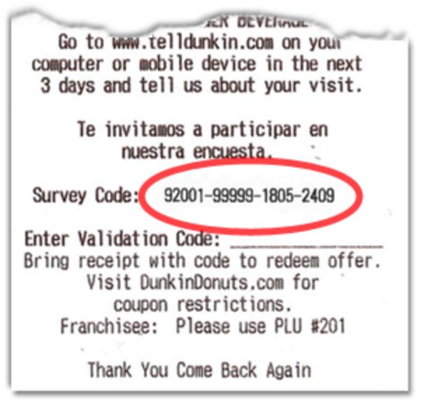telldunkin survey code