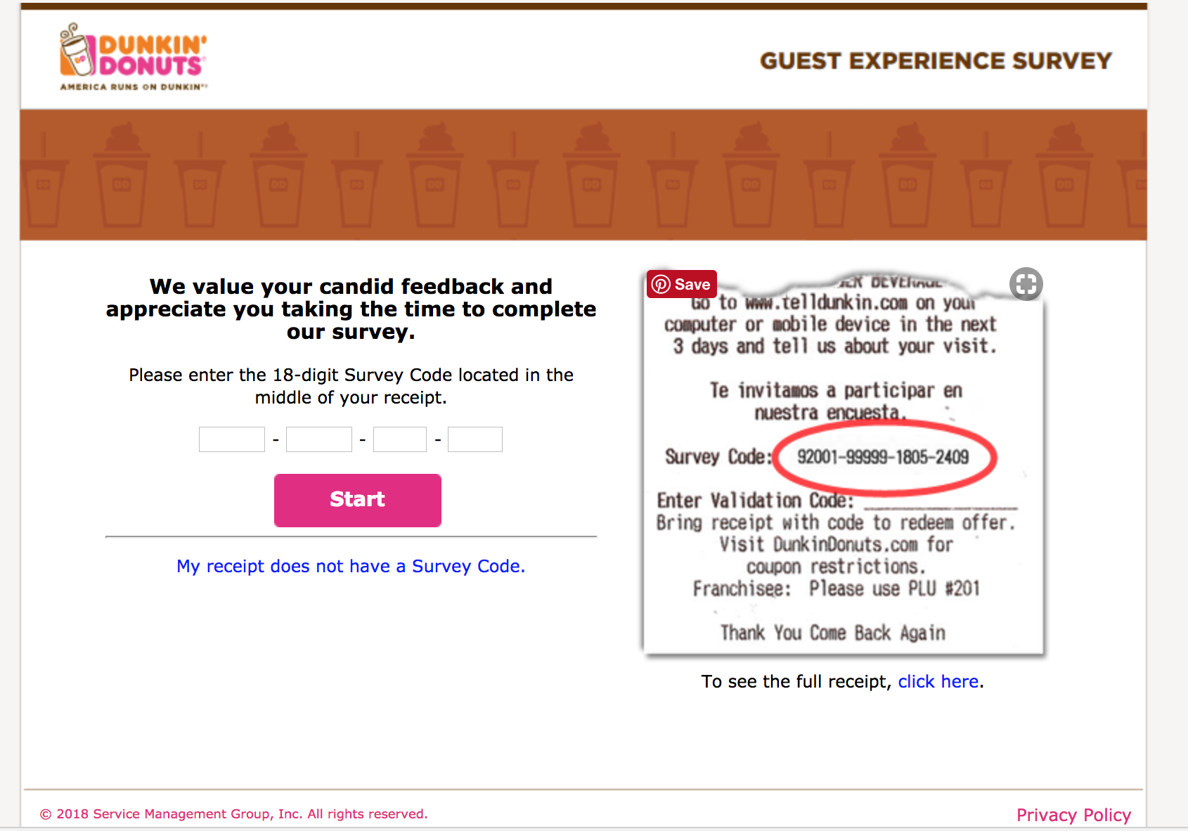 take telldunkin survey without a receipt code
