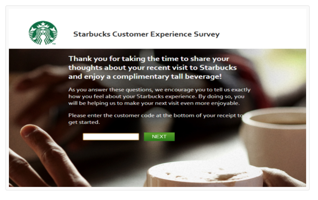 survey for free starbucks drink