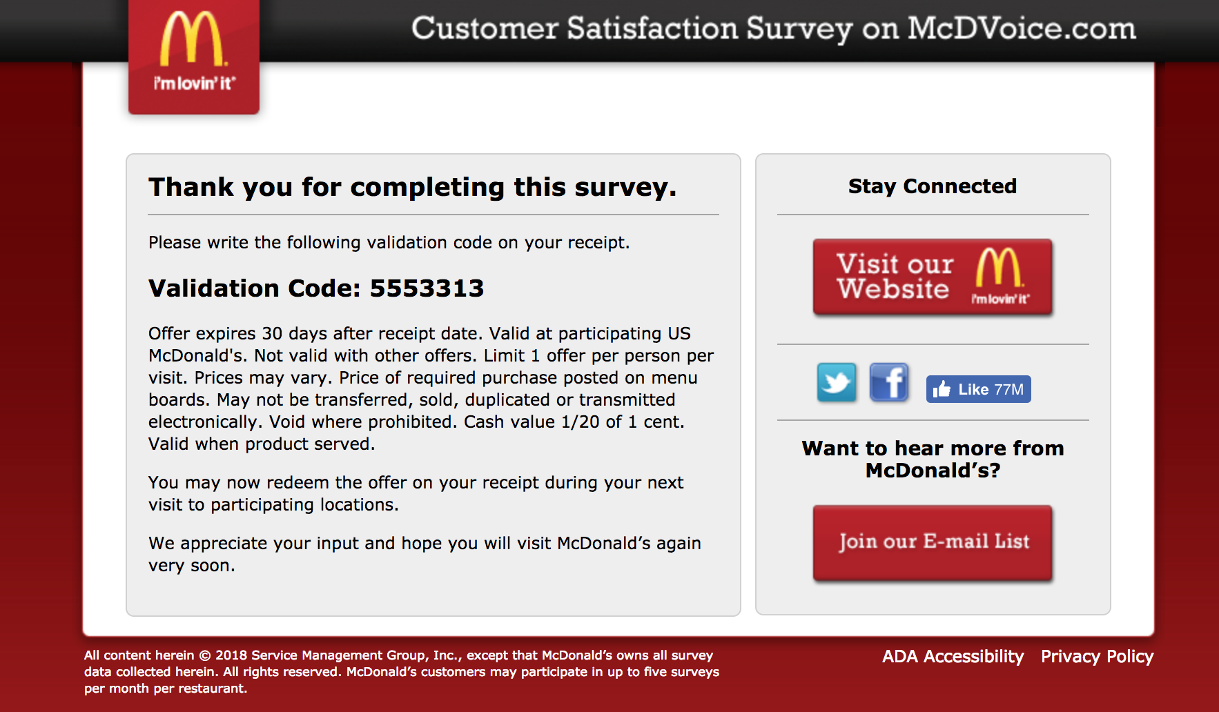 mcdvoice completed survey validation code
