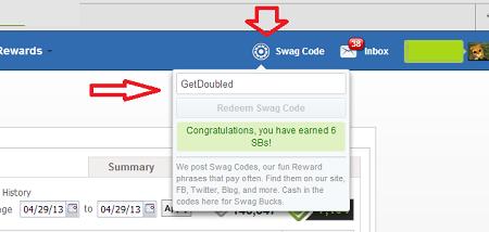 swagbucks codes enter