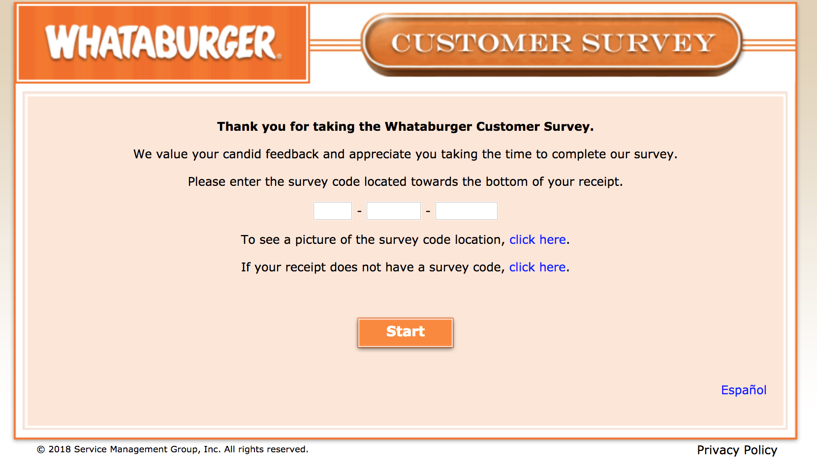 whataburger survey homepage