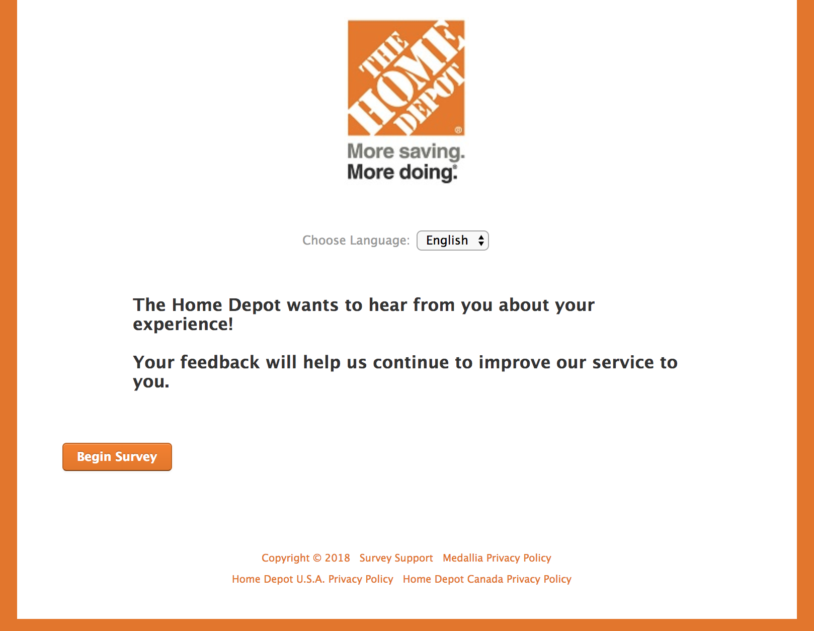 www.Homedepot.com Survey homepage