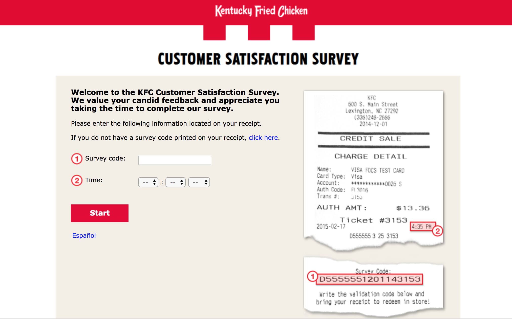 mykfcexperience survey homepage