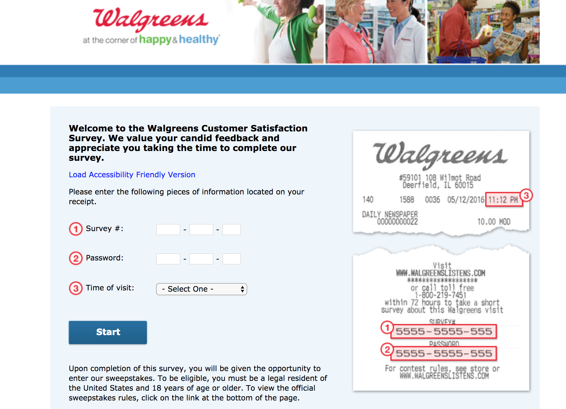 www.walgreenslistens.com survey homepage