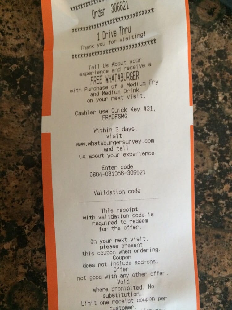 whataburger survey receipt