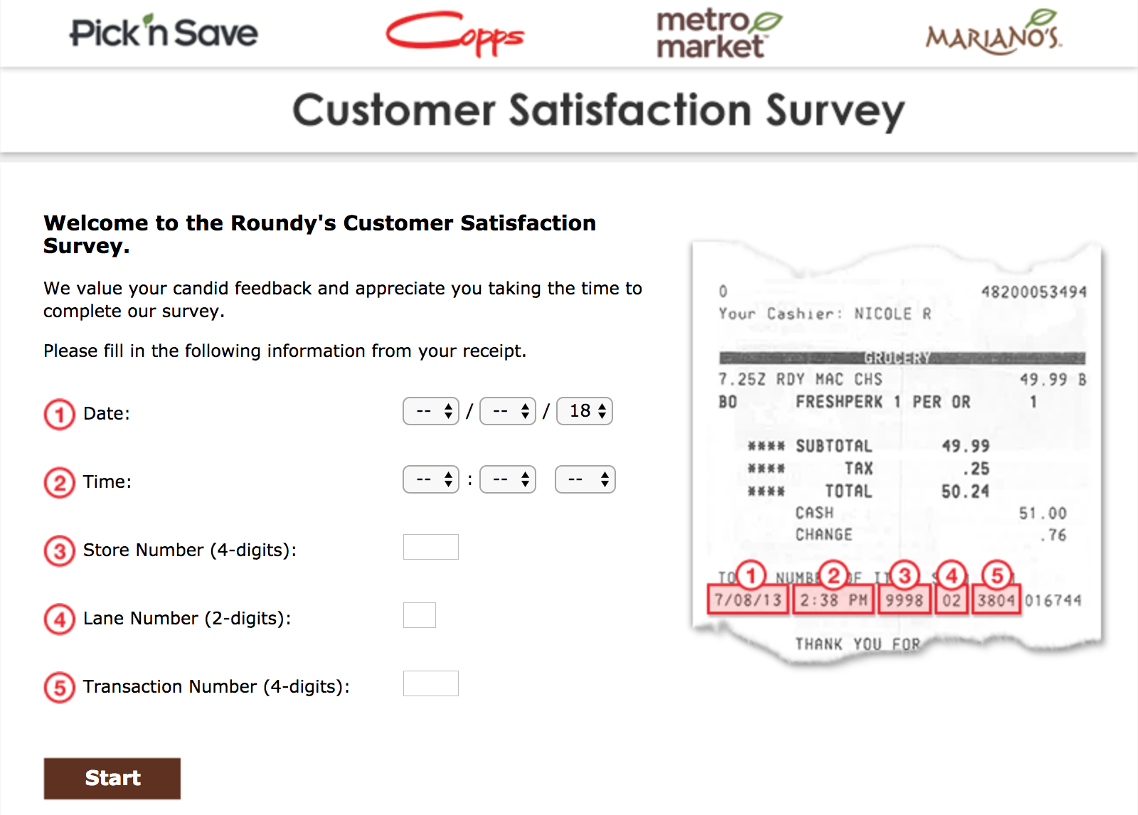 marianos survey homepage