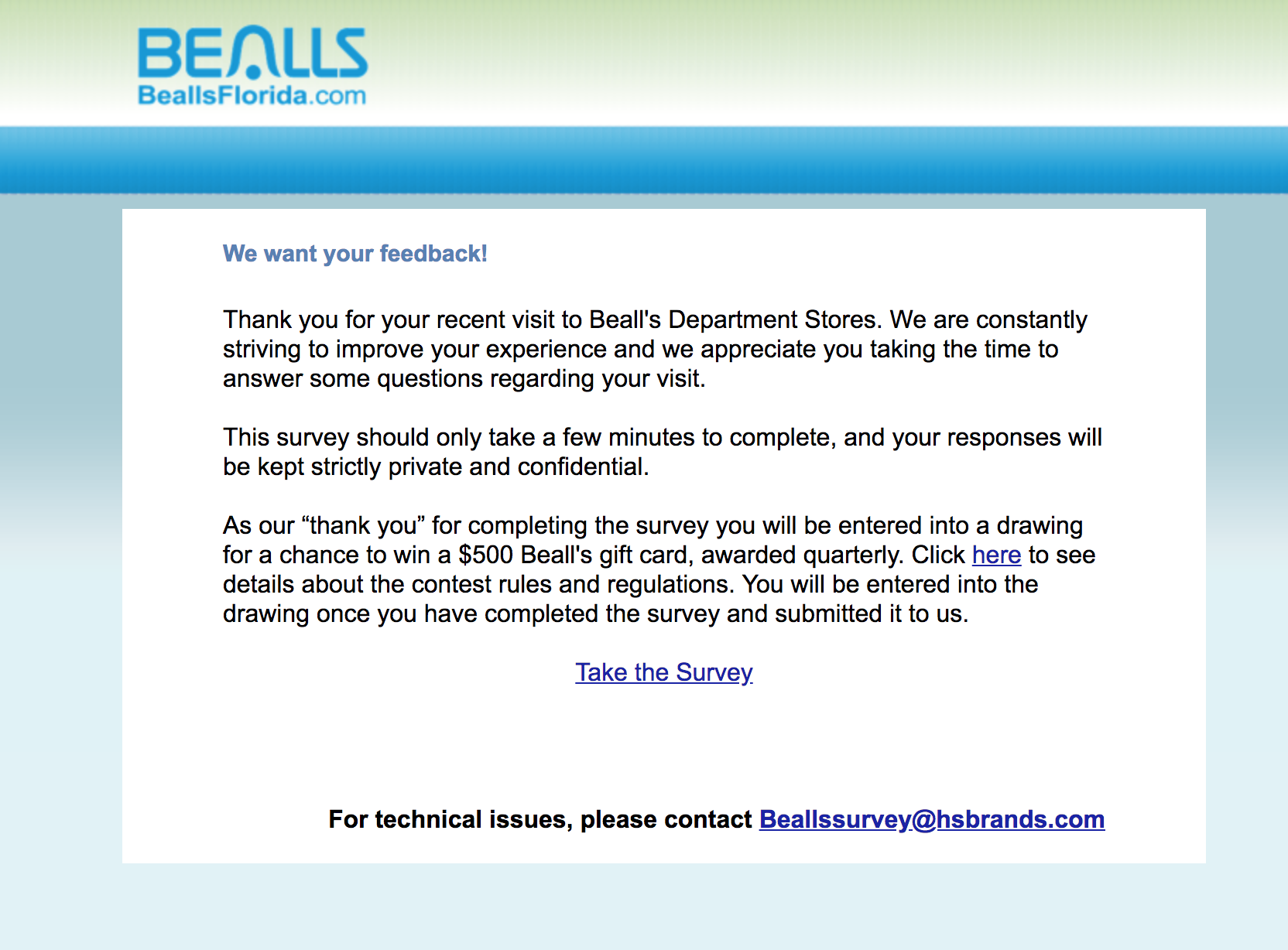 bealls florida survey homepage