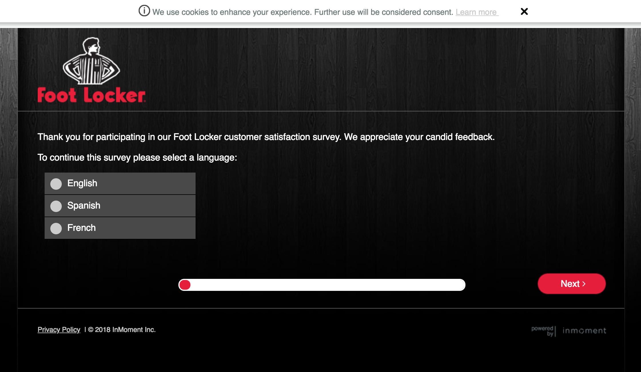 footlockersurvey homepage