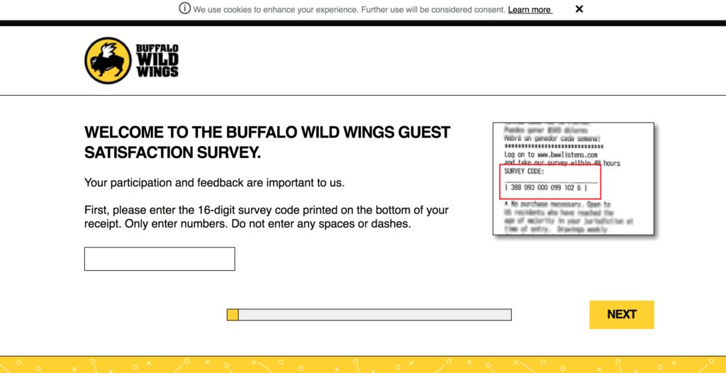 Buffalo Wild Wings Receipt Survey Survey Buffalowildwings