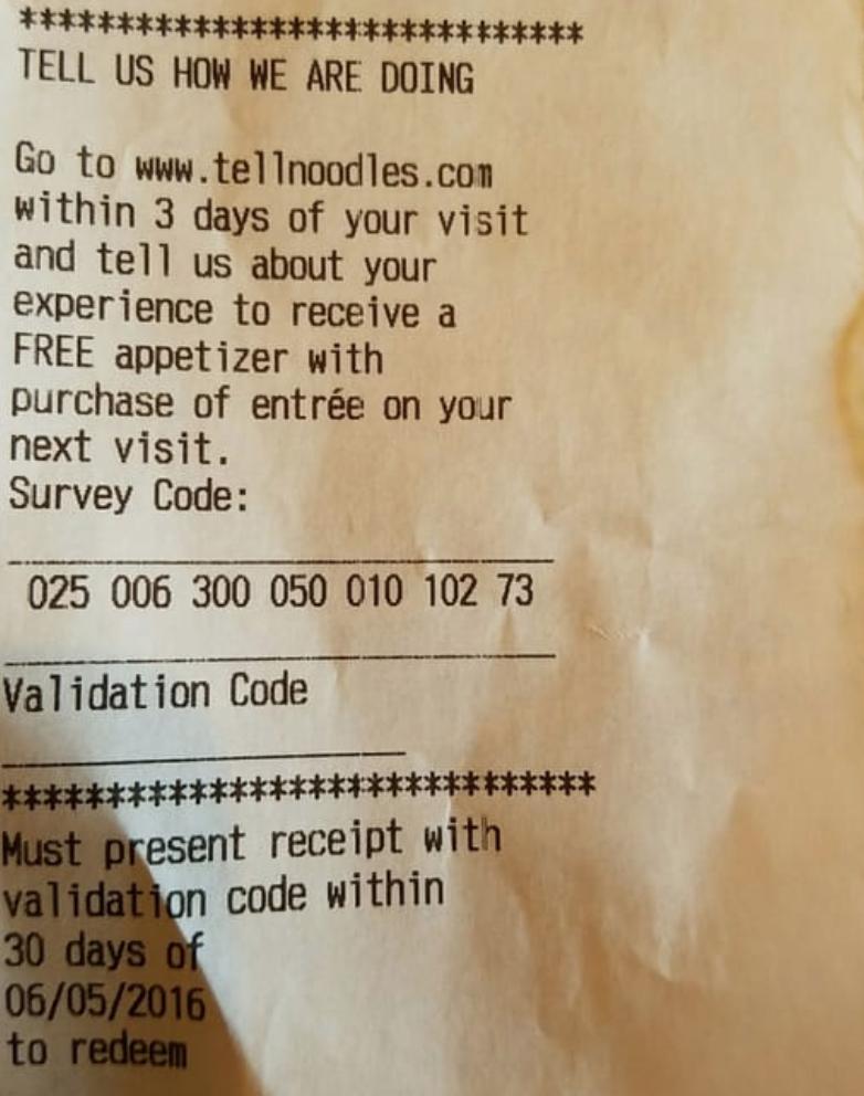 tellnoodles survey receipt