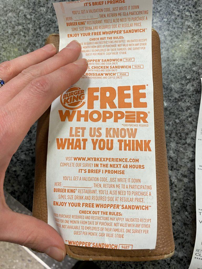 mybkexperience free whopper receipt