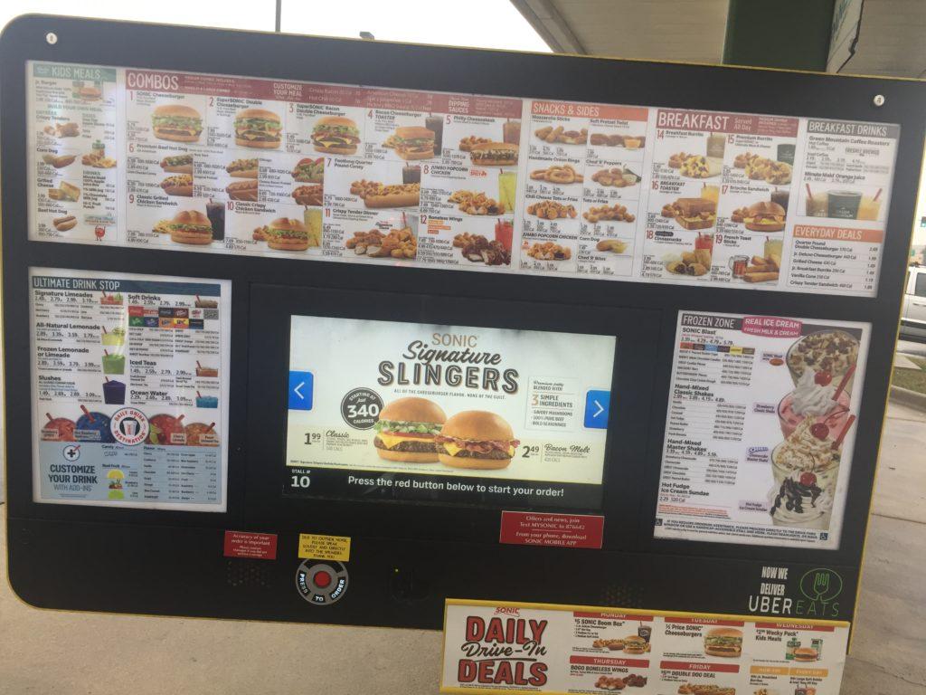 sonic menu