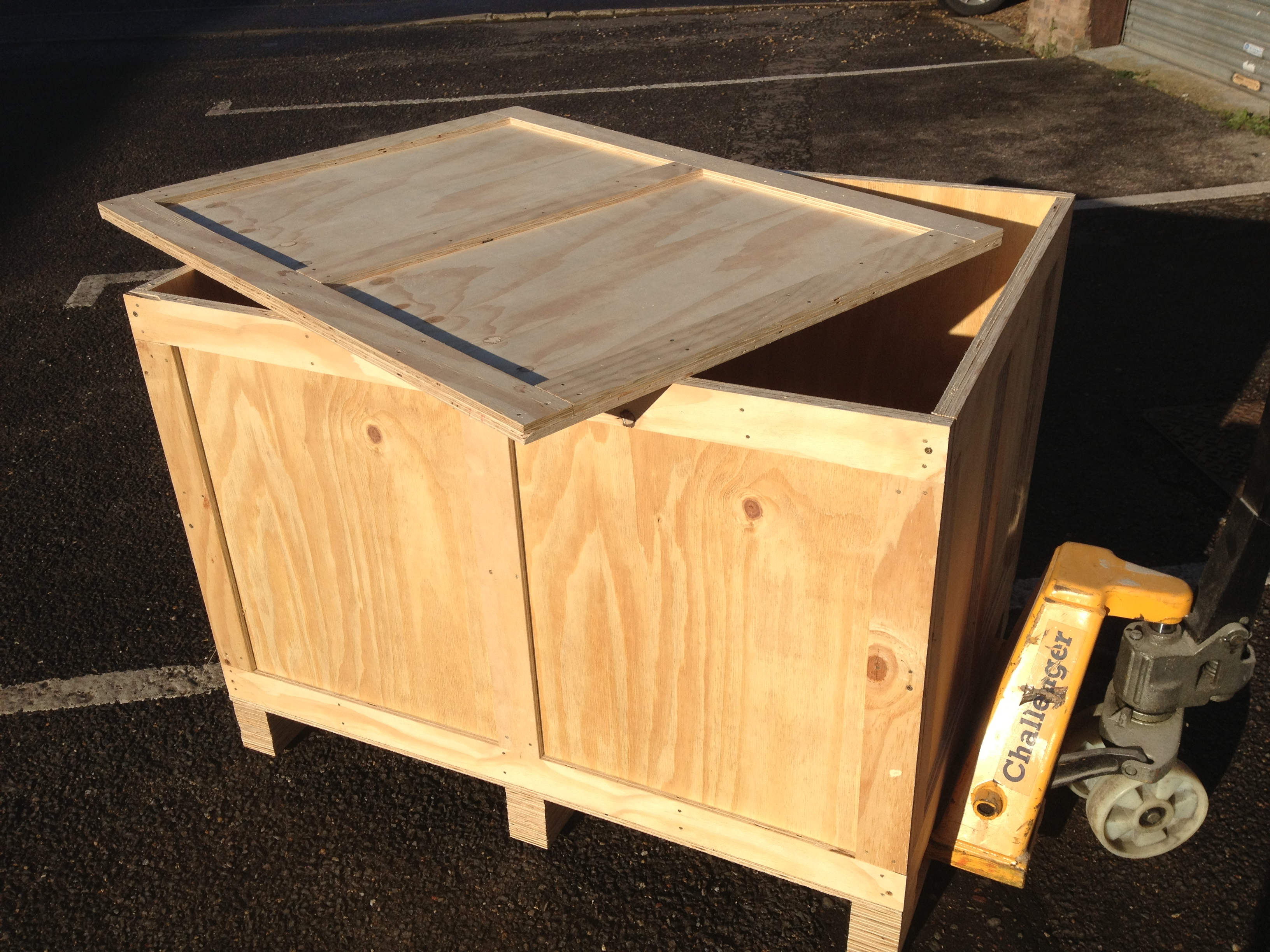 wooden packing crate table