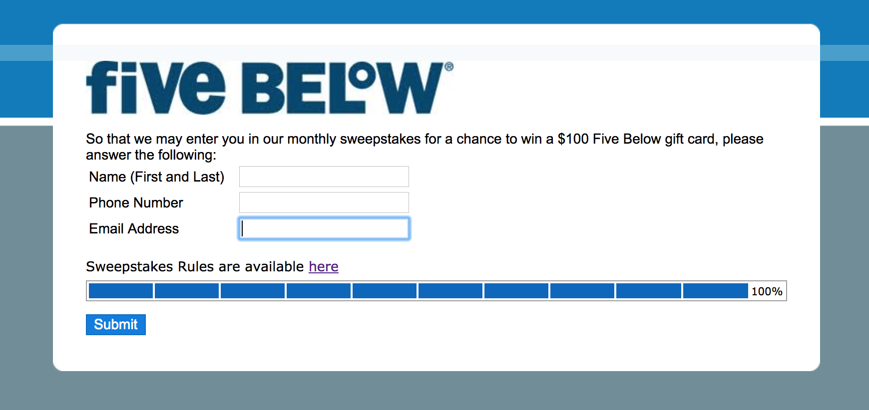 fivebelowsurvey.com prize