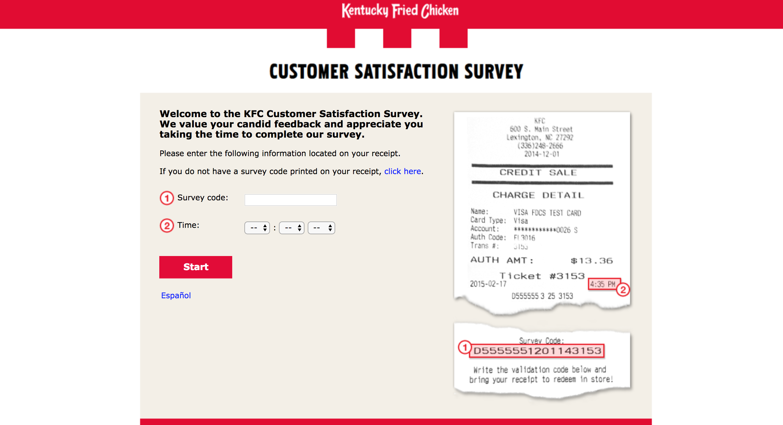 kfc survey homepage
