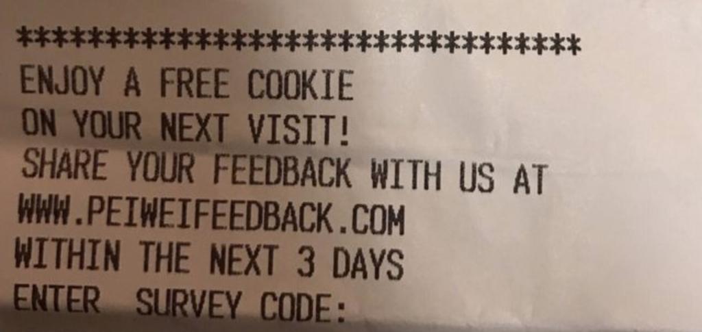 pei wei survey receipt