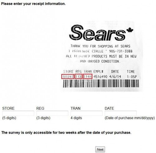 sears survey receipt