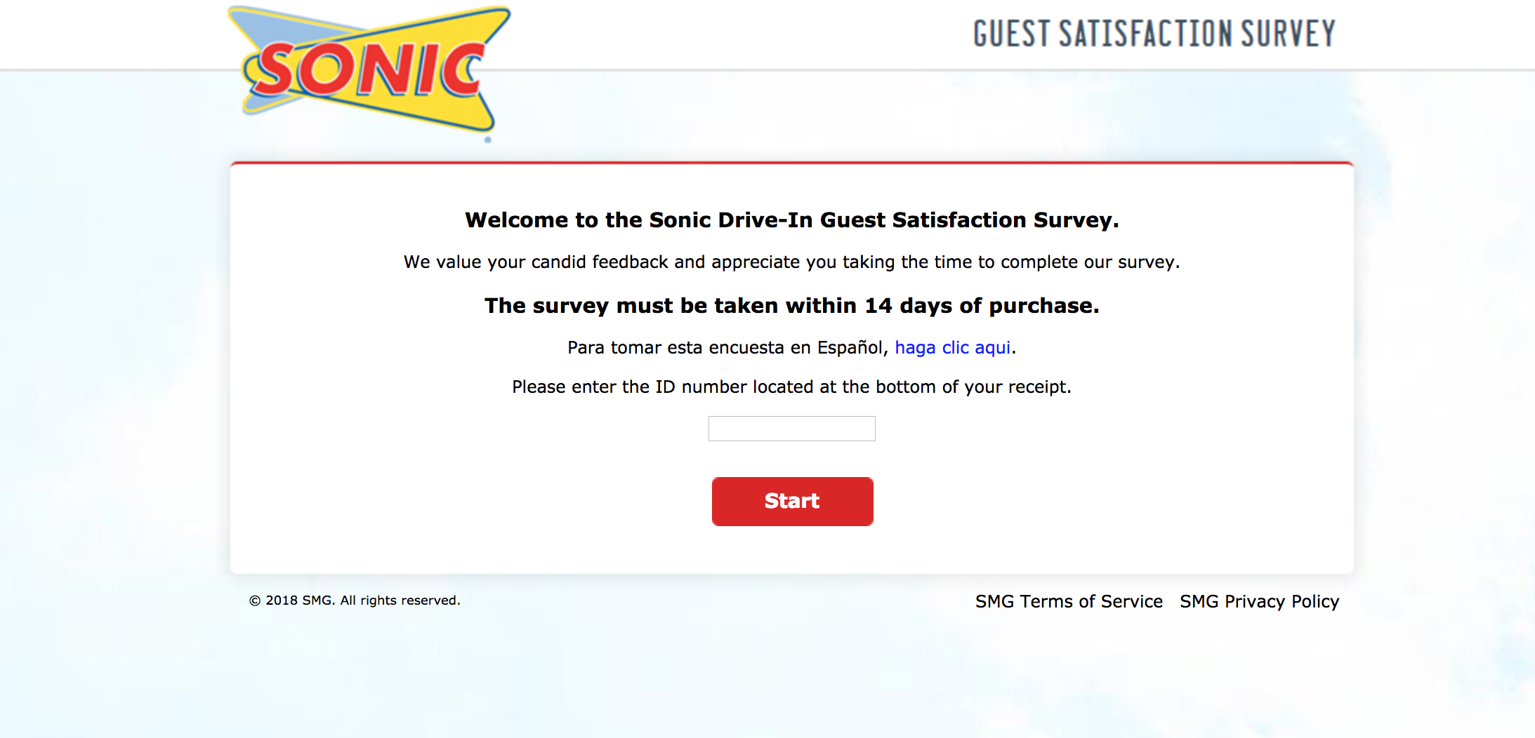 sonic survey homepage