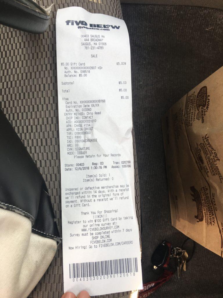 www.fivebelowsurvey.com receipt