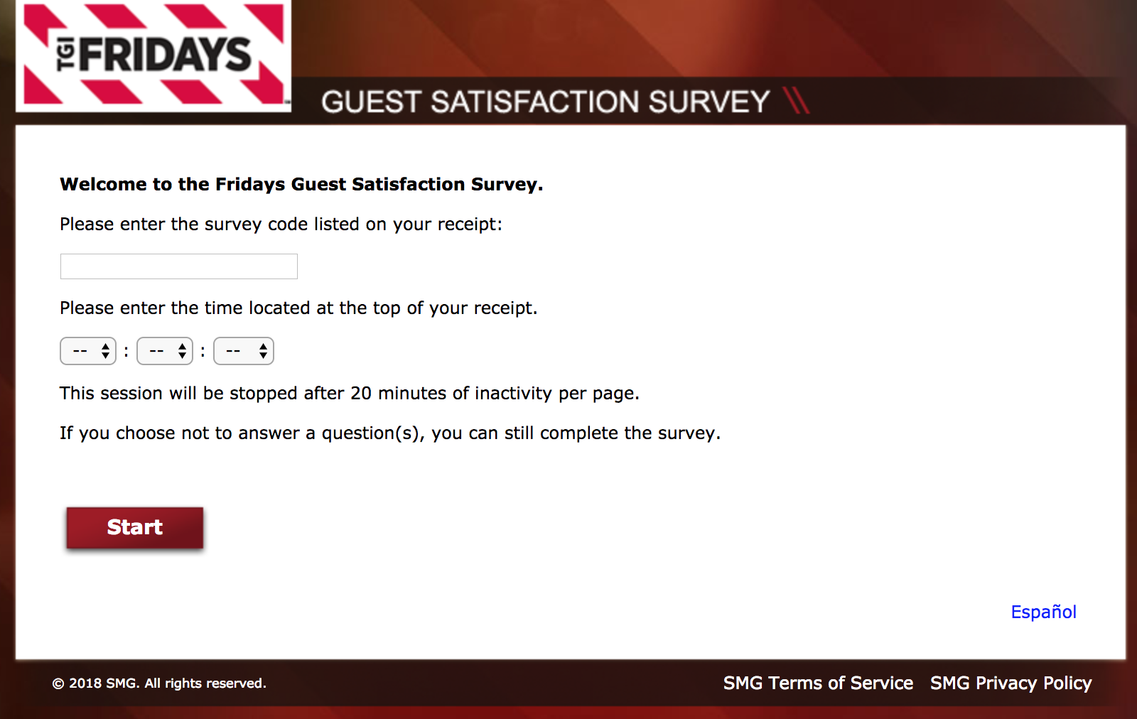 Furthermore, you should have a TGI Friday's receipt on which you can see your survey code, which is the key to participate in the survey. Moreover, you need to buy something from their stores to participate in TGI Friday's Guest Satisfaction Survey.