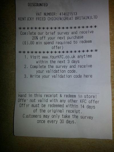 yourkfc.co.uk receipt