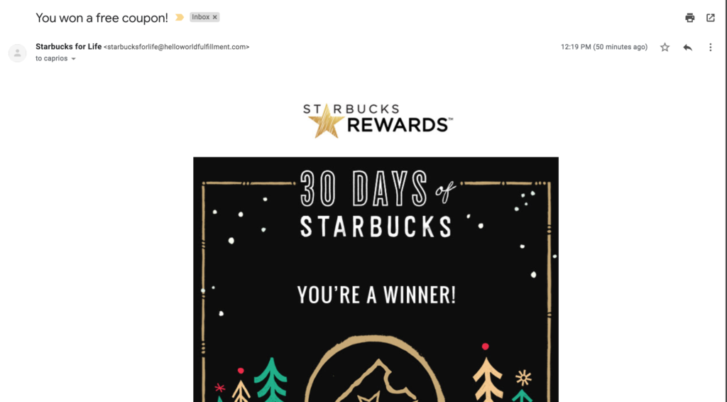 30 days of starbucks coupon prize