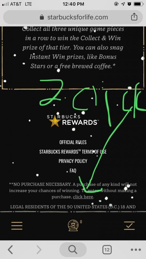 starbucks for life free entry step 2