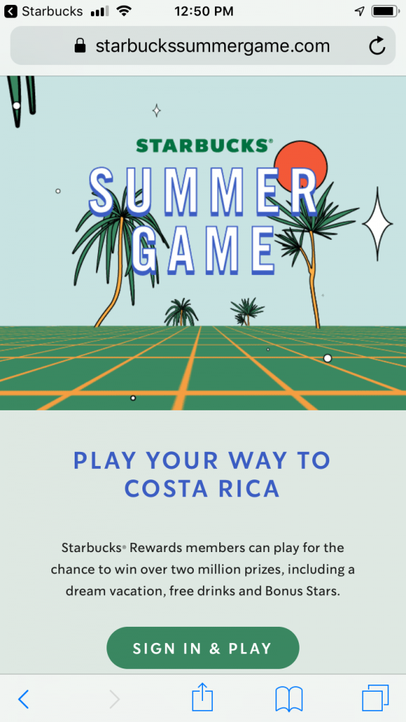 Starbucks Summer Game