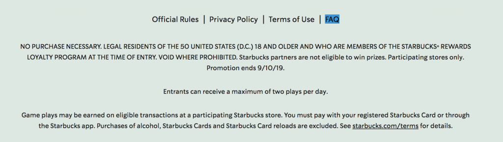 Starbucks Summer Game Rules