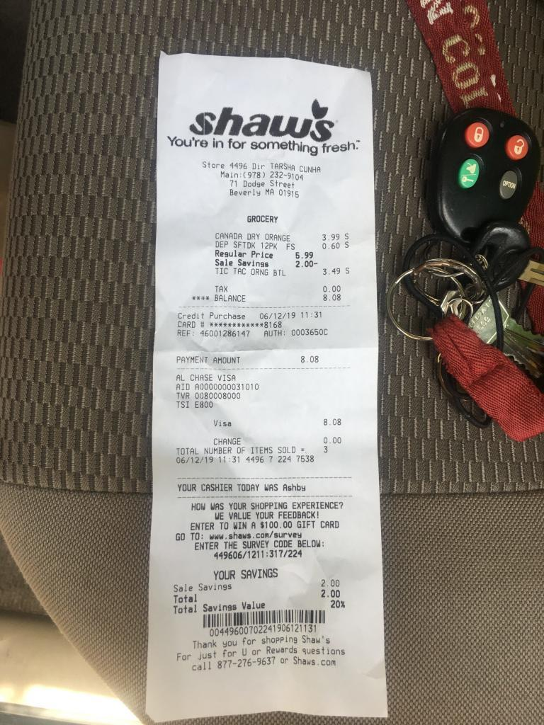 shaws survey receipt