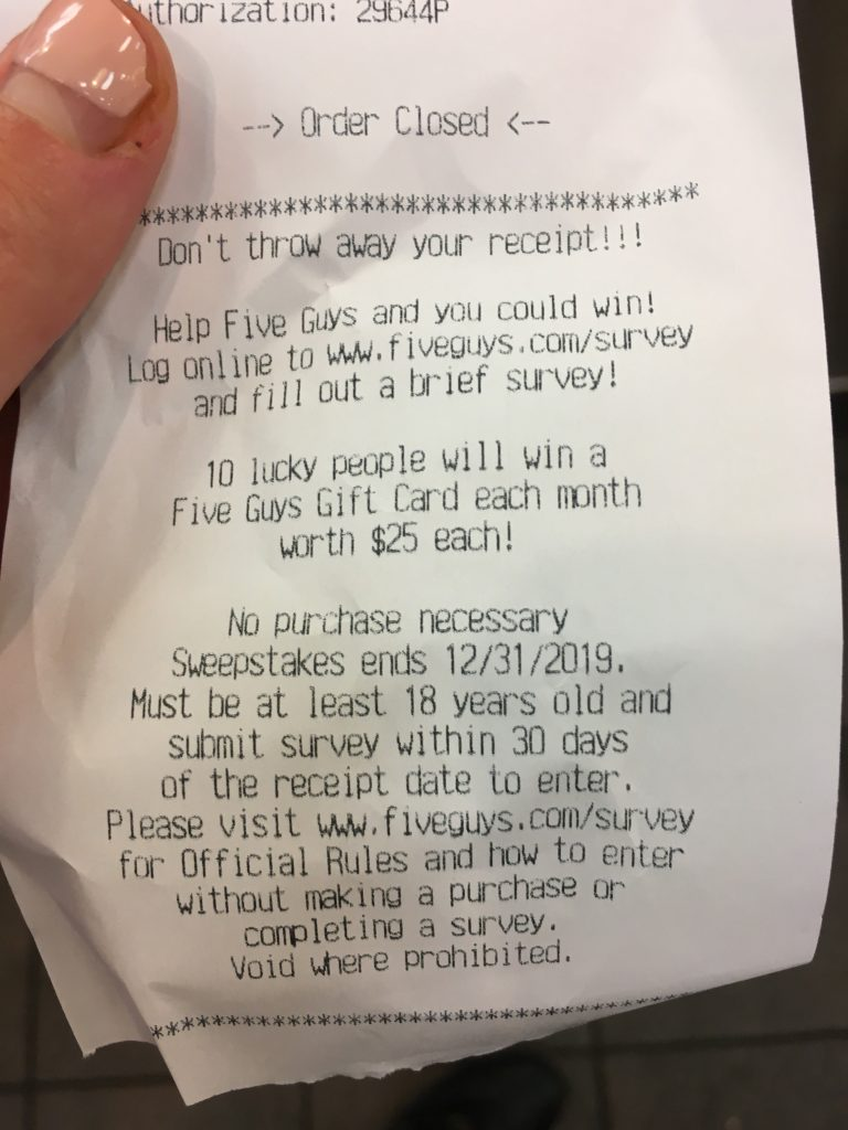 five guys survey receipt