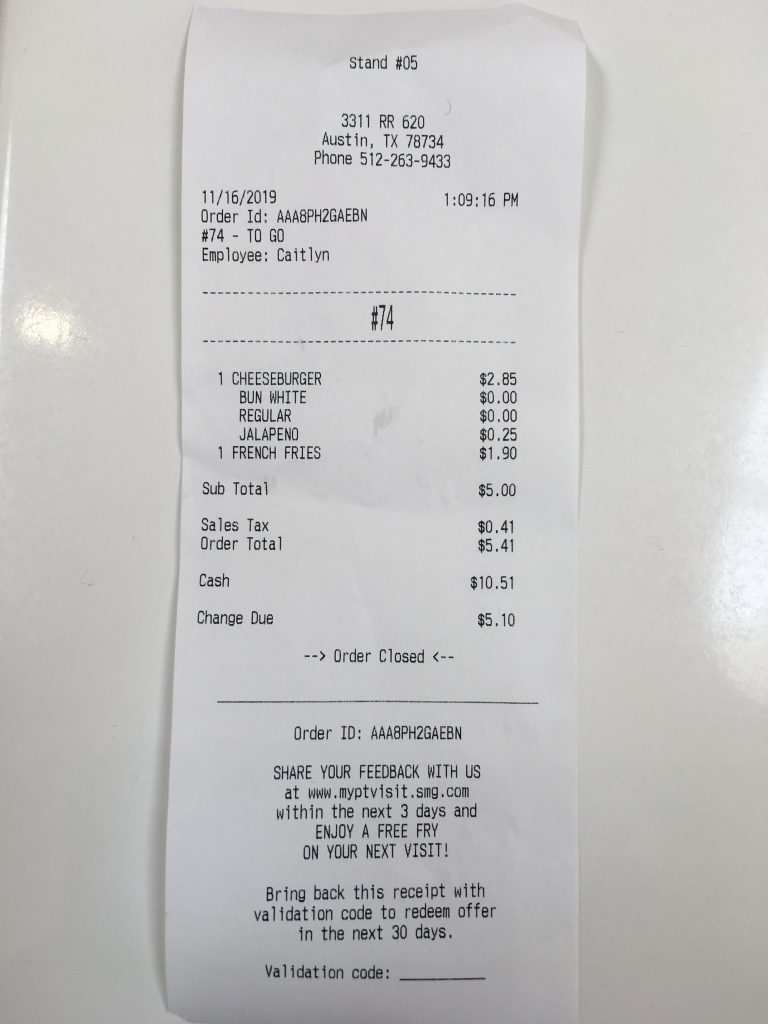 p terry survey receipt