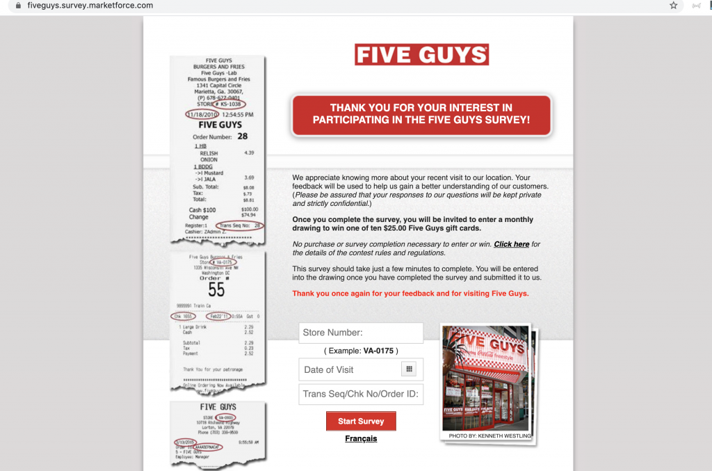 www.fiveguys.com survey homepage