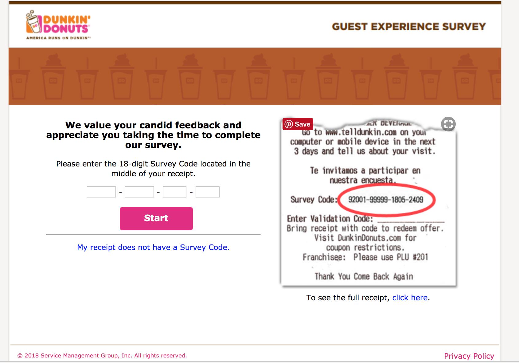 take telldunkin survey without a receipt code